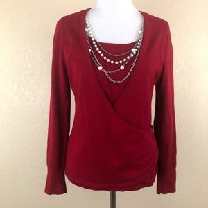Apt 9 Red Cross Over Blouse with Necklace